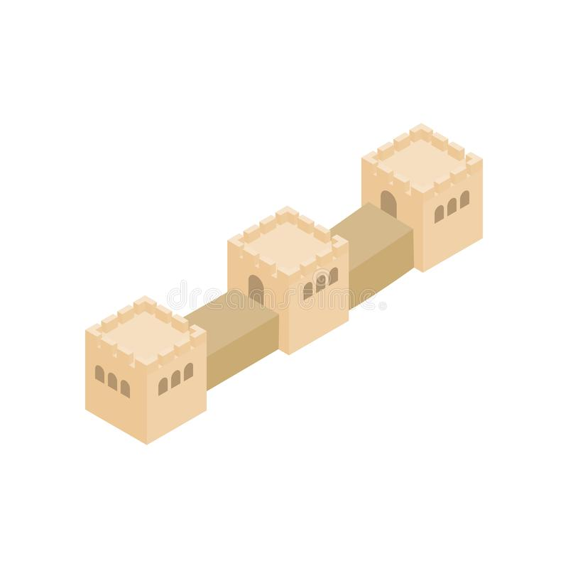 Great Wall of China icon, isometric 3d style vector illustration