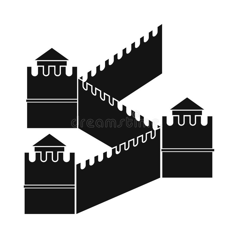 Great Wall of China icon, simple style stock illustration
