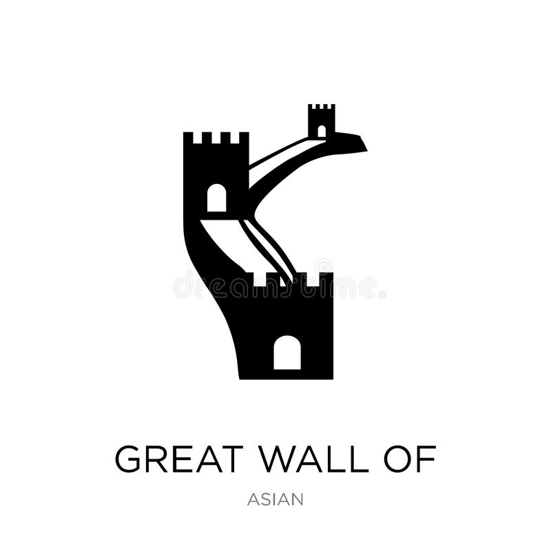 Great wall of china icon in trendy design style. great wall of china icon isolated on white background. great wall of china vector. Icon simple and modern flat vector illustration