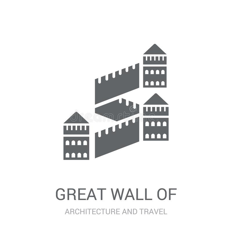 Great wall of china icon. Trendy Great wall of china logo concept on white background from Architecture and Travel collection. Suitable for use on web apps royalty free illustration