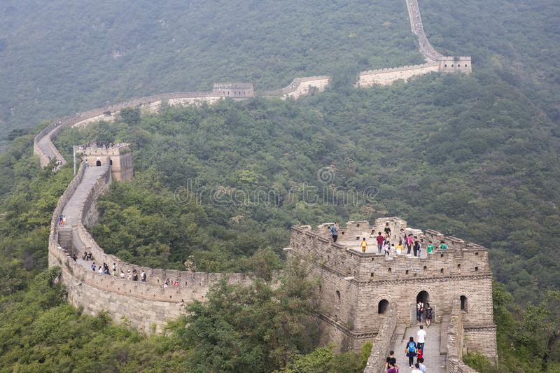 Great wall of China in a morning mist stock photo