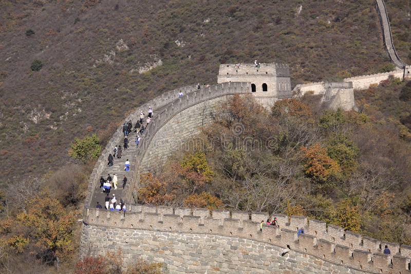 Great Wall of China. Mutianyu. Mutianyu (Chinese: 慕田峪; pinyin: Mùtiányù) is a section of the Great Wall of China located in Huairou stock photo