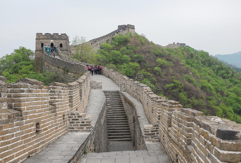Great Wall of China. At Mutianyu is the most famous Chinese tourist attraction and destination stock photography