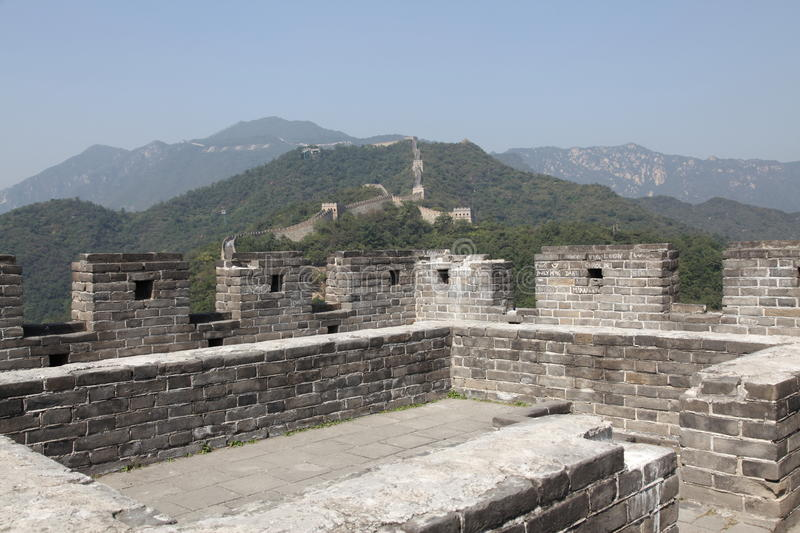 Great Wall of China. Mutianyu. Tower. Mutianyu (Chinese: 慕田峪; pinyin: Mùtiányù) is a section of the Great Wall of China located in royalty free stock photo