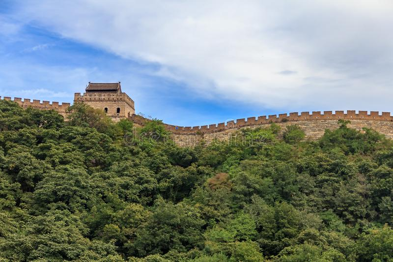 Great Wall of China, in the Mutianyu village, one of remote parts of the Great Wall near Beijing. The Great Wall of China, in the Mutianyu village, one of remote royalty free stock images