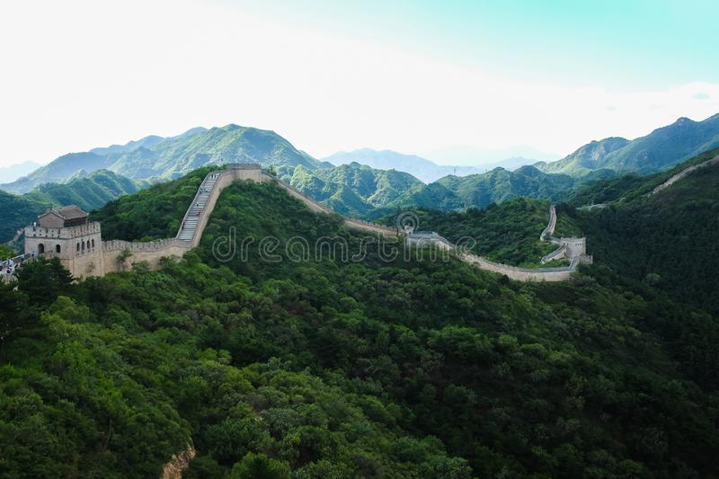 The Great Wall of China near Beijing. The great wall of China stretches across the mountain ridge into the distance near Beijing stock images