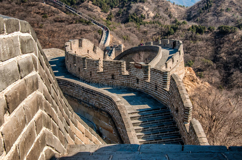 The Great Wall of China. Is one of the greatest sights in the world — the longest wall in the world, an awe-inspiring feat of ancient defensive stock photography