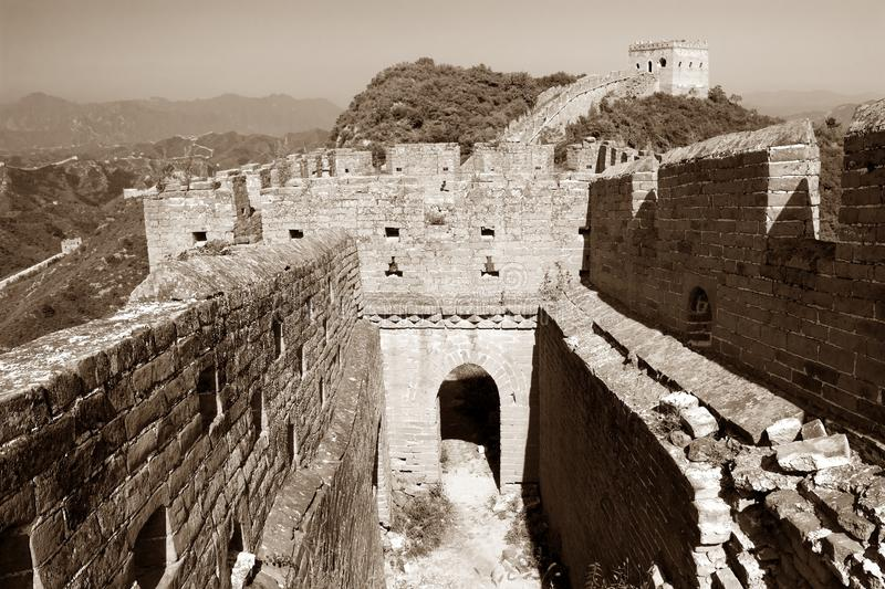 Great Wall - China. Sepia colored view of Great Wall - China royalty free stock images