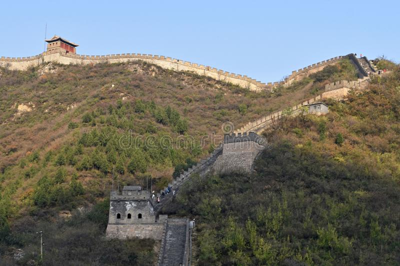 Great Wall of China. The Great Wall of China is a series of fortifications made of stone, brick, tamped earth, wood, and other materials, generally built along royalty free stock photo