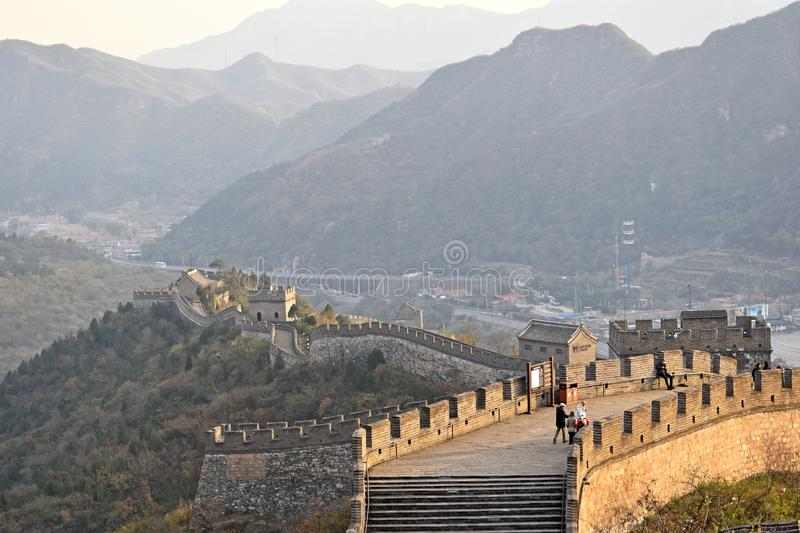 Great Wall of China. The Great Wall of China is a series of fortifications made of stone, brick, tamped earth, wood, and other materials, generally built along stock photo