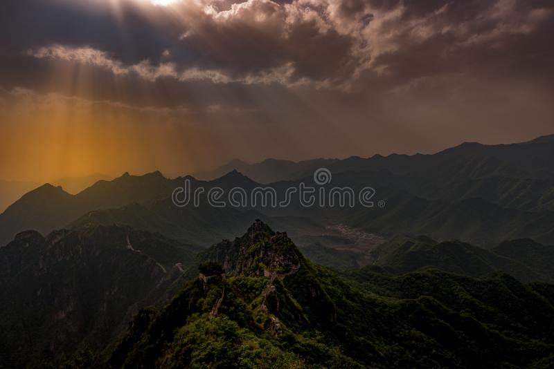 Sunset over the Great Wall. The Great Wall of China shot at dusk from the Zhenbeilou tower at Jiankou, one of the non restored areas near Beijing royalty free stock photos