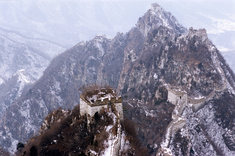 The great wall of china in snow stock image