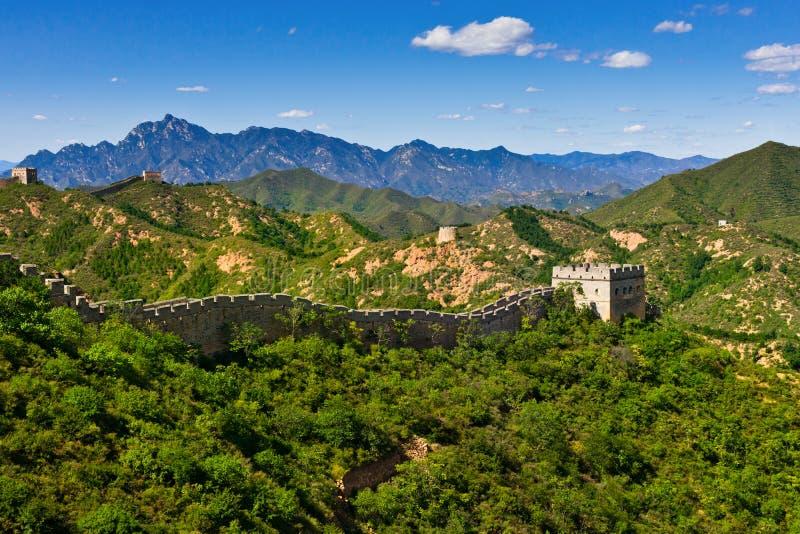 Great Wall of China in summer day, Jinshanling royalty free stock photography