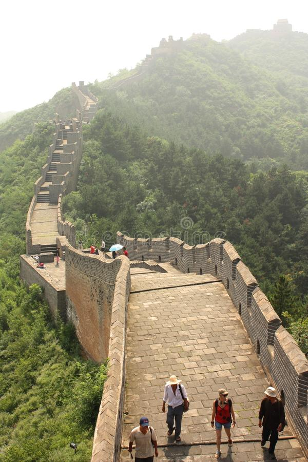 The Great Wall Of China With Tourists Editorial Photography