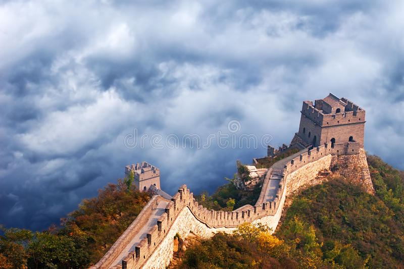 Great Wall of China Travel, Stormy Sky Clouds. Dramatic scene of the Great Wall of China near Beijing. A stormy sky and clouds create a dramatic and scenic royalty free stock images