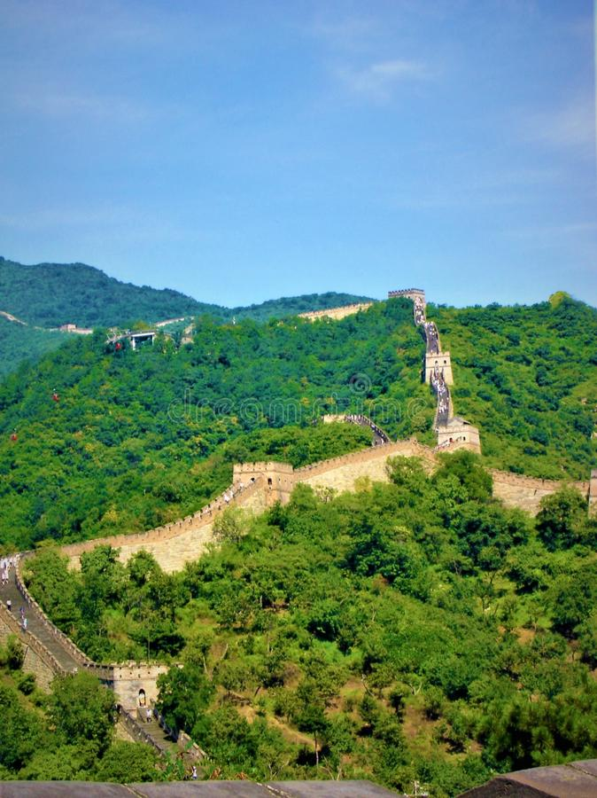 Great Wall in China, trees, sky, nature, forest and history. Great Wall in China. Trees, forest, woods, environment, blue sky, sunny day, green and blue stock images
