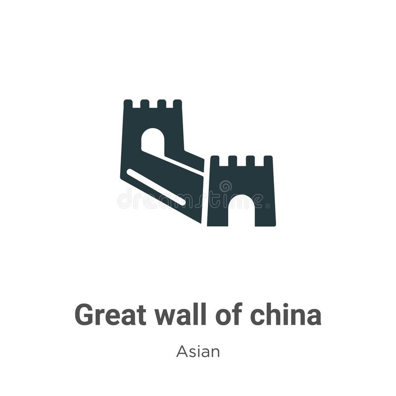 Great wall of china vector icon on white background. Flat vector great wall of china icon symbol sign from modern asian collection. For mobile concept and web stock illustration