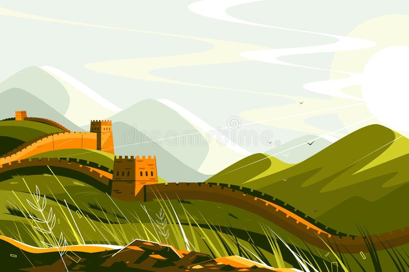 Great Wall of China royalty free illustration