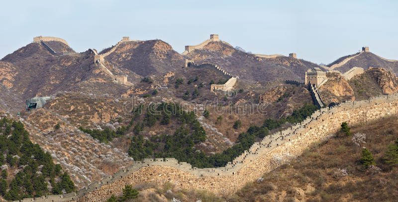 Great Wall of China view at Jinshanling Section near near Beijing. A panorama of the Great Wall of China was shot in April 2015 stock photo