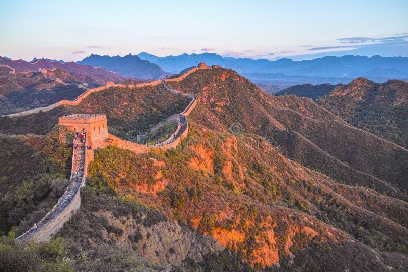 Great wall at dusk. The dusk in Jinshanling Great Wall royalty free stock photo