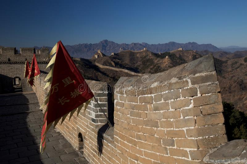 Great Wall flags royalty free stock photography