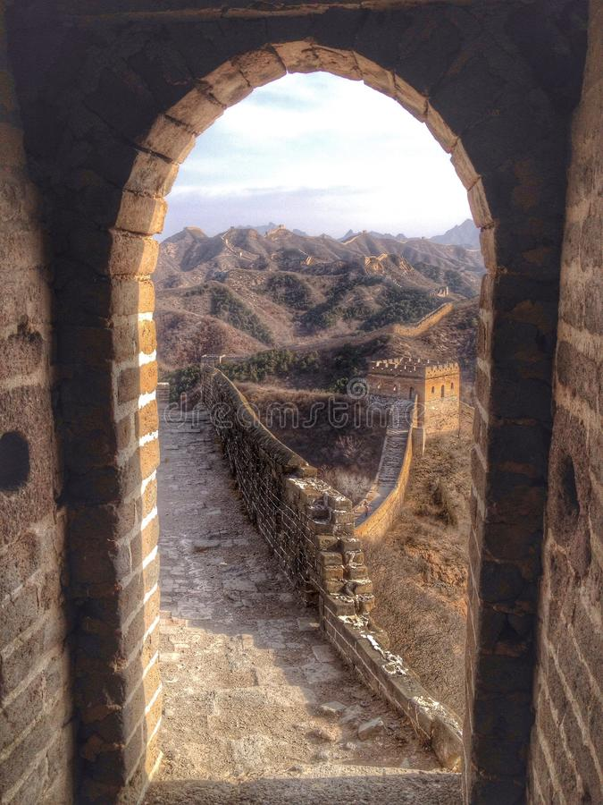 Great Wall framed in watchtower door stock images