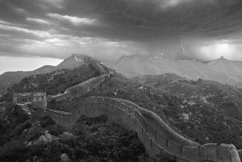 Beijing Great Wall apocalyptic typhoon, China royalty free stock image