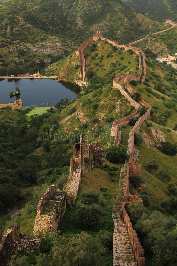 Great wall in India. Great wall around Amber forth in Jaipur, pink city in Rajasthan, north India stock photo