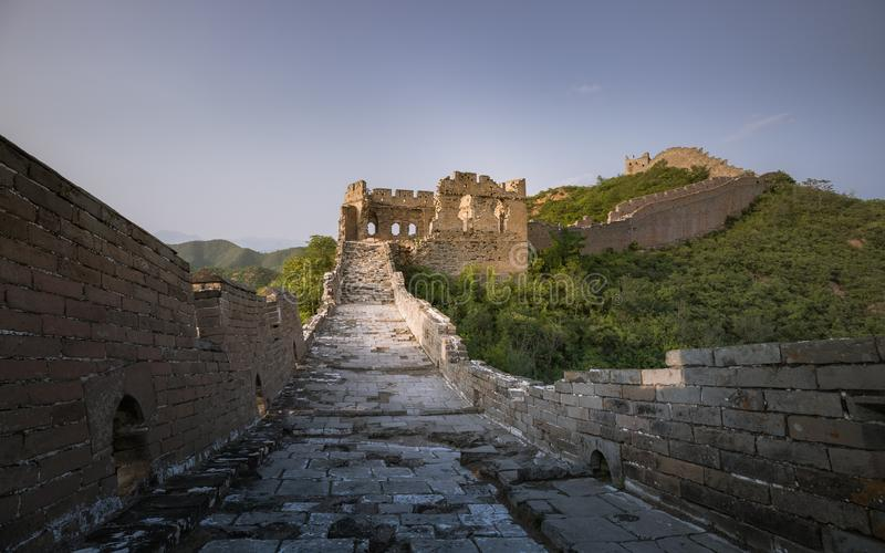 Sunlight painted scenery of Great Wall,China-East Asia. The Great Wall,the most representative part of the Chinese brick-made dragon, has been rebuilt stock images