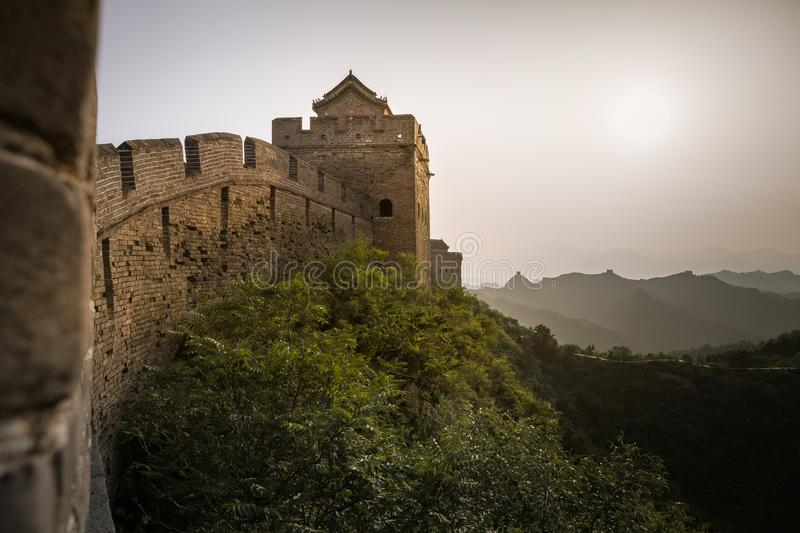 Sunlight painted scenery of Great Wall,China-East Asia. The Great Wall,the most representative part of the Chinese brick-made dragon, has been rebuilt stock photography