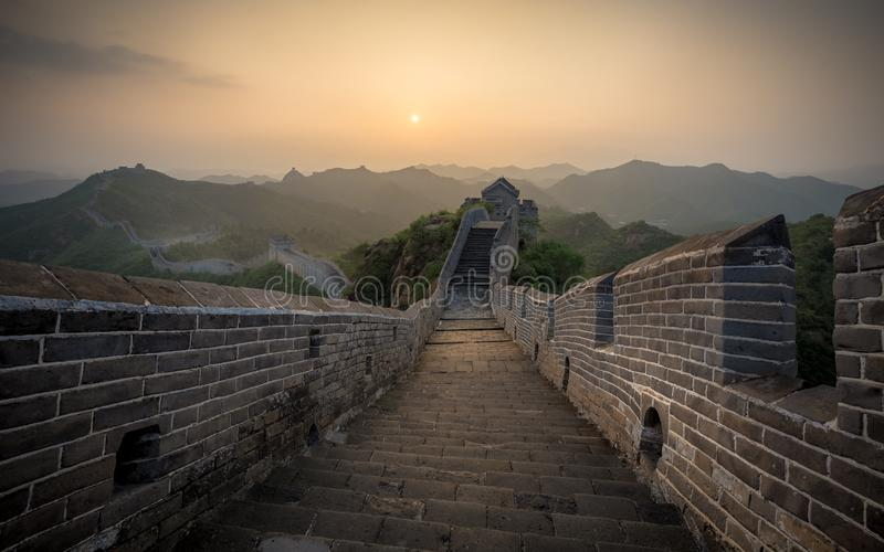 Sunlight painted scenery of Great Wall,China-East Asia. The Great Wall,the most representative part of the Chinese brick-made dragon, has been rebuilt royalty free stock photos
