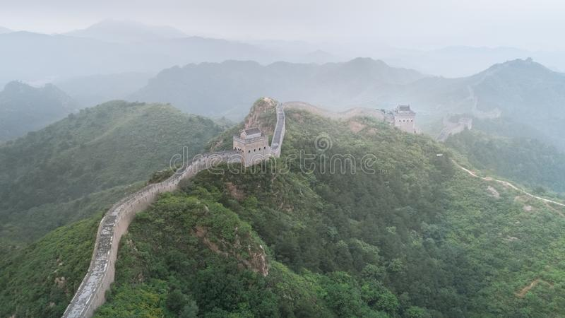 Fog painted scenery of Great Wall, Morning,China-East Asia. The Great Wall,the most representative part of the Chinese brick-made dragon, has been royalty free stock photos