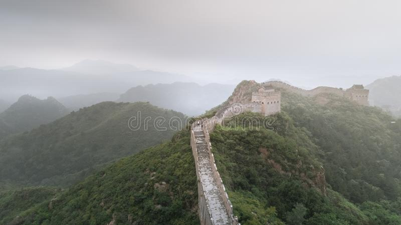 Fog painted scenery of Great Wall, Morning,China-East Asia. The Great Wall,the most representative part of the Chinese brick-made dragon, has been stock photos