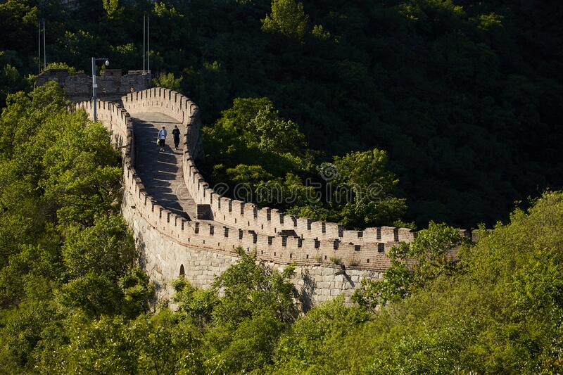 Beijing Great Wall after Corona Virus, travelers with face masks stock photos