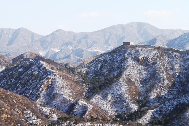 The Great Wall with snow left royalty free stock image