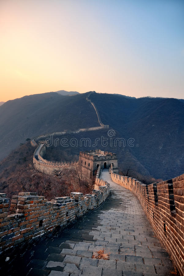 Great Wall sunset royalty free stock images