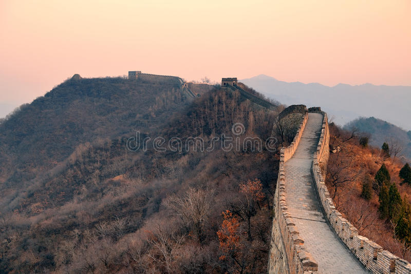 Great Wall sunset royalty free stock photo