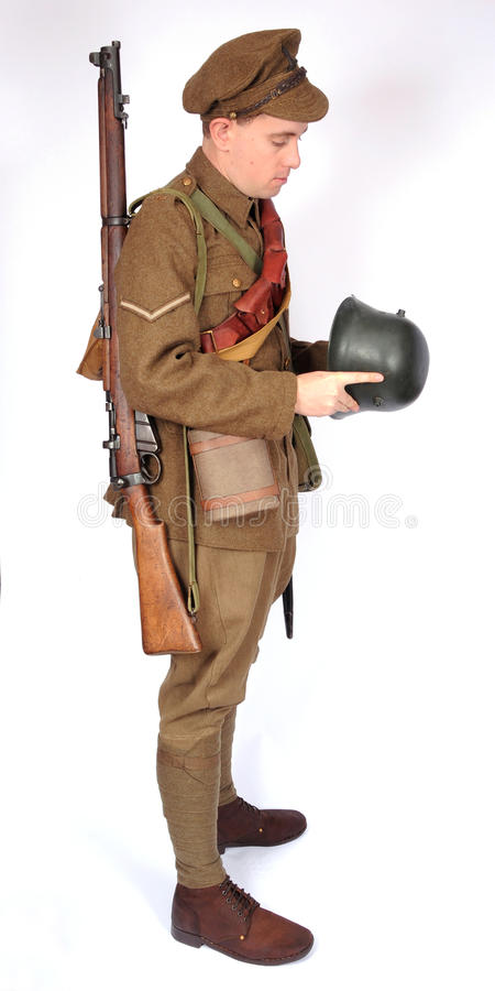 Great War cavalry soldier with German helmet royalty free stock image