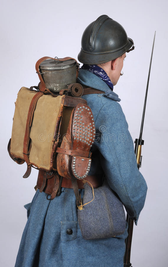 Great War French Engineer pack and equipment. A Great War uniform as worn by French Engineer soldier. He carries a rifle and full equipment with pack (spare royalty free stock images