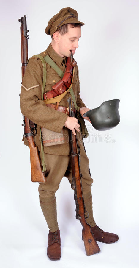 Great War soldier with trophies royalty free stock photos