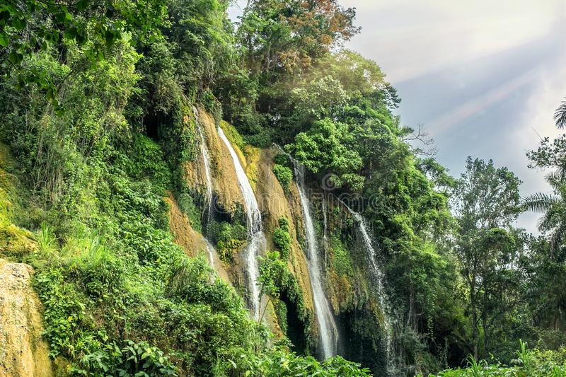 Waterfall in Cuba stock photo