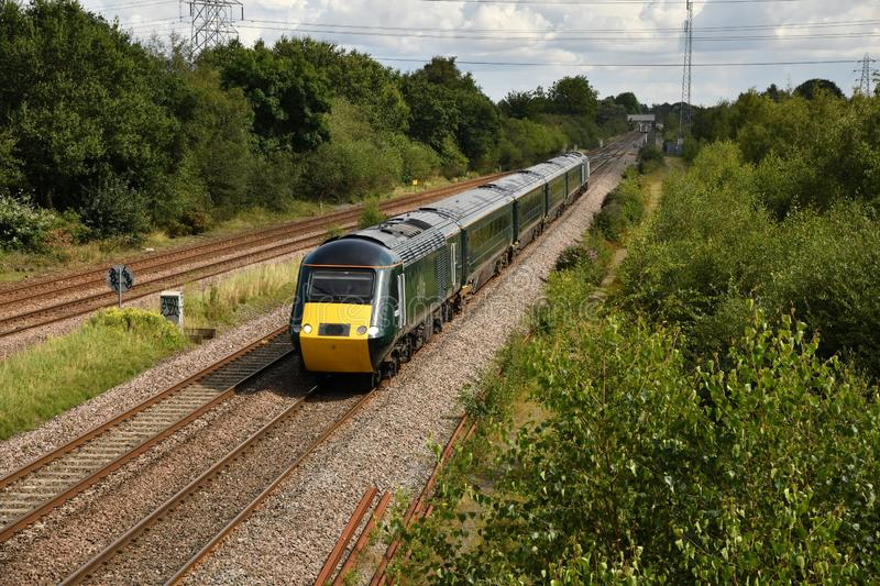 Great Western Railway Castle Class 255 2 plus 4 HST set GW06 en-route from Doncaster to Plymouth Laira stock photos