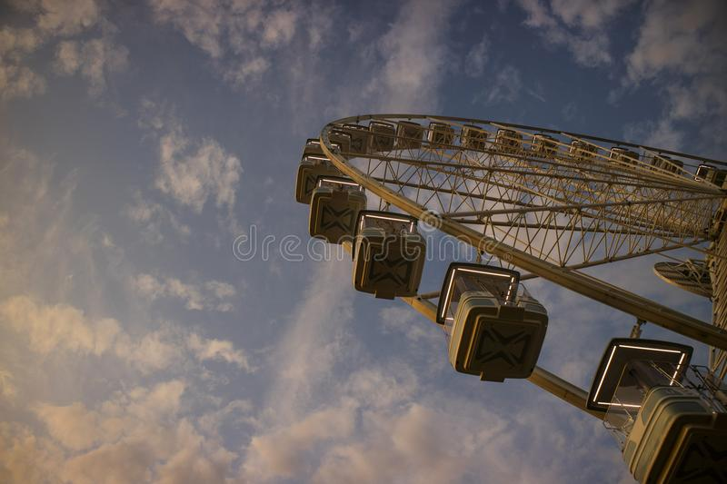 It rotates at the end of the day panning. The great wheel photographed panning pours the end day in the city of Viareggio Italia royalty free stock photography