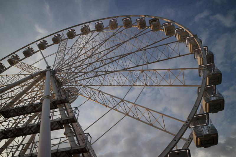 It rotates at the end of the day panning. The great wheel photographed panning pours the end day in the city of Viareggio Italia royalty free stock photos