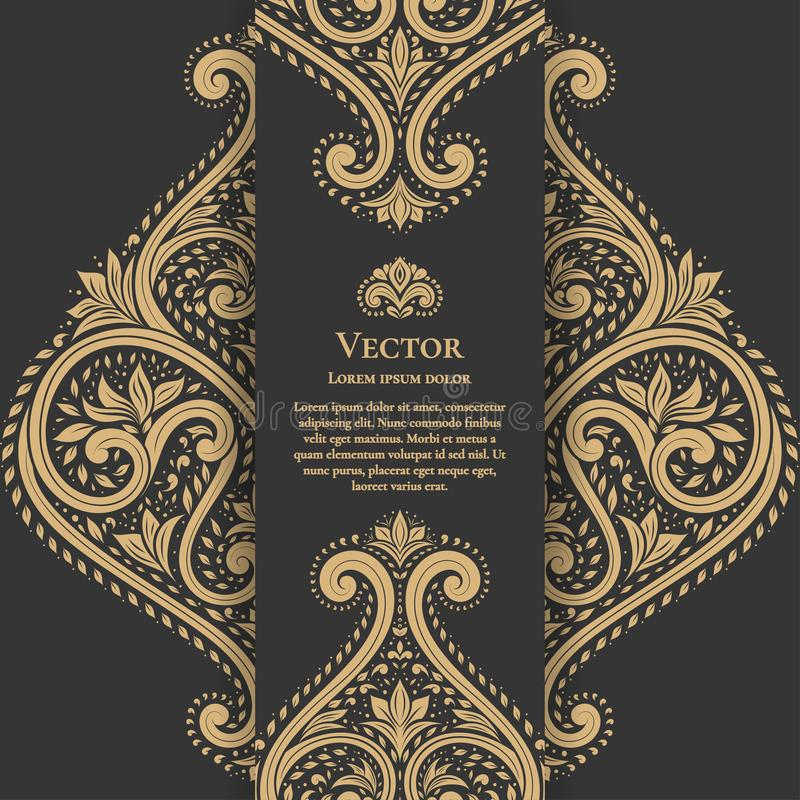Beautiful floral card on a black background. Luxury ornament template. vector illustration