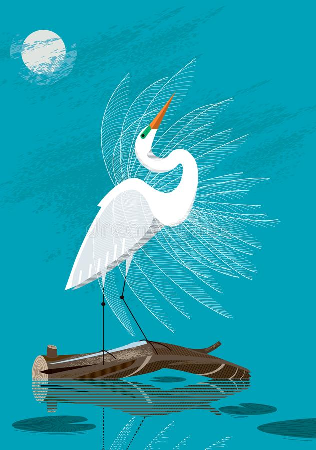 Great White Egret. Stands on a log against the background of the night sky vector illustration
