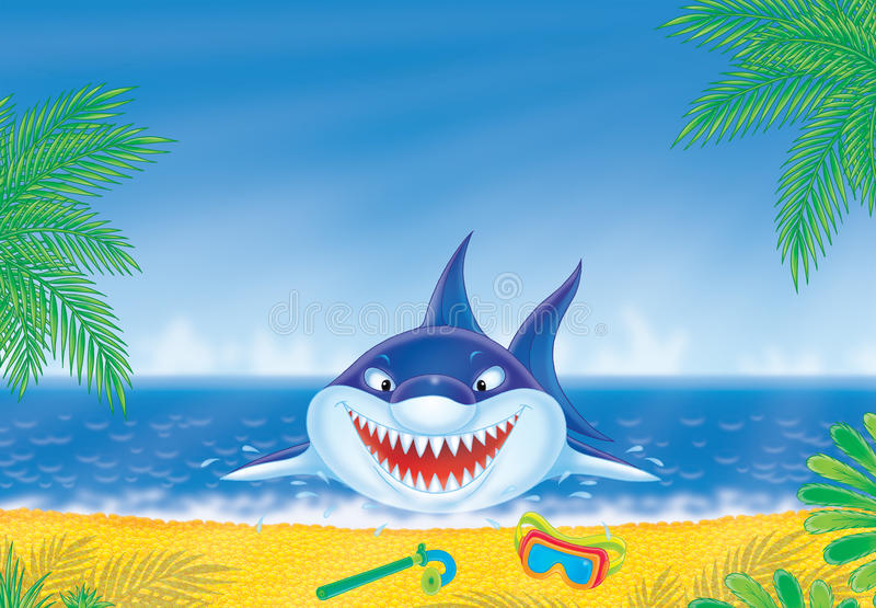 Great white shark on a beach. Great white shark springs out from water on a tropical beach stock illustration