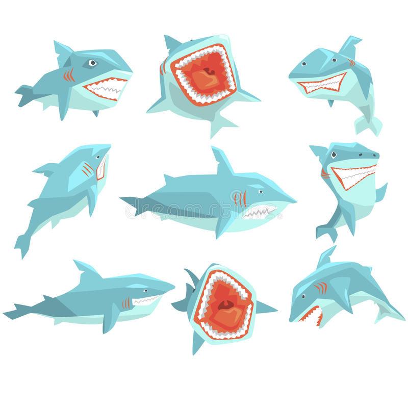 Great White Shark Marine Fish Living In Warm Sea Waters Realistic Cartoon Character Vector Set Of Different Views stock illustration