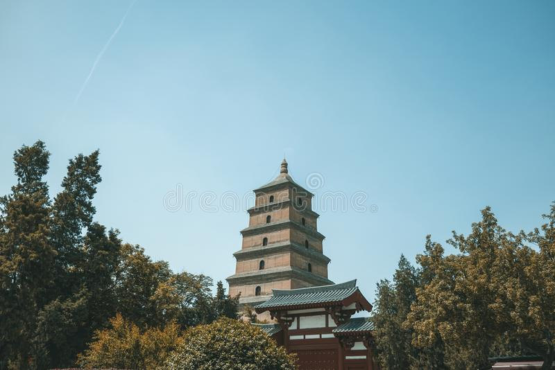 The Great Wild Goose Pagoda. Also known as the `Cien Temple Pagoda`, was built by Xuanzang to preserve the Buddhist statues of the Scriptures brought back to stock photography
