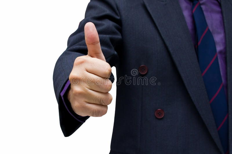Great work. Businessman show thumb up isolated on white backgroud royalty free stock photo